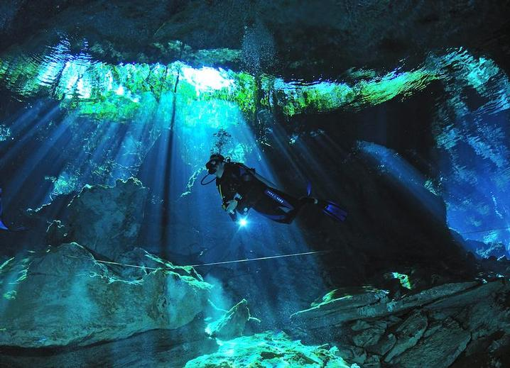Dive the incredible Cenotes in Mexico from just £1048 per person (excluding flights) including diving, accommodation, transfers and breakfast daily at the Omni Resort (Image courtesy of Dive Aventuras)